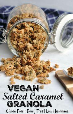 Vegan Salted Caramel Granola - gluten free - The Histamine Friendly Kitchen Healthy Vegan Snacks, Vegan Foods, Vegan Desserts, Gluten Free Recipes, Gourmet Recipes, Vegan Recipes, Diet Recipes, Vegan Baking, Healthy Baking