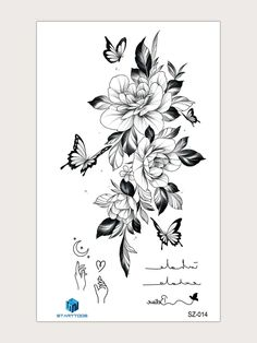 Flower Tattoo Designs, Flower Tattoos, Tattoo Sticker, Flower Sketches, Butterfly Pattern, Floral Flowers, Peonies, Art Reference, Tatting