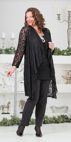 Kasbah black lace waterfall jacket, vest and trouser