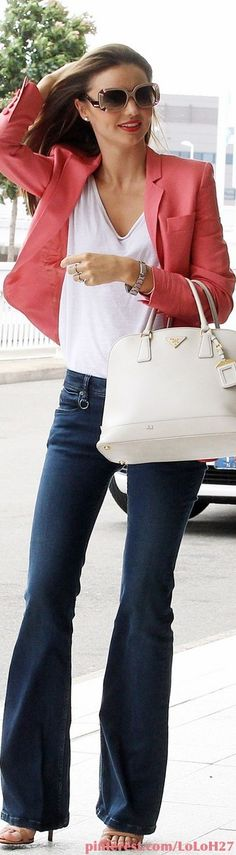 Jeans, white top, white tote, and coral blazer. Won't hurt to look like Miranda Kerr, too. Blazer Rose, Coral Blazer, Look Blazer, Coral Jacket, Colored Blazer, Passion For Fashion, Love Fashion, Womens Fashion, Fashion Trends