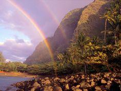 Image detail for -amazing scenic wallpaper of Double Rainbow Kee Beach Kauai Hawaii. Kauai Hawaii, Blue Hawaii, Hawaii Vacation, Rainbow Photo, Rainbow Wallpaper, The Beach Boys, Hawaiian Islands, Over The Rainbow, Places To See