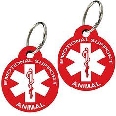 ESA  Pet ID Tags Various Shapes and Colors Doubled Sided Emotional Support Animal Premium Aluminum Set of 2 Round Red *** Details can be found by clicking on the image.