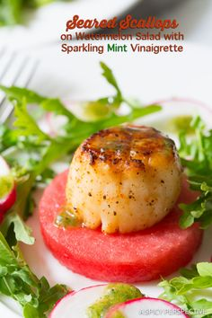 Mind Blowing Seared Scallops on Watermelon Salad with Sparkling Mint Vinaigrette - ASpicyPerspective.com