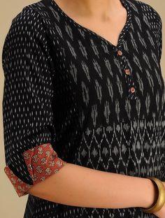 Buy Black-Grey Hand woven Ikat & Block Printed Cotton Kurta Online