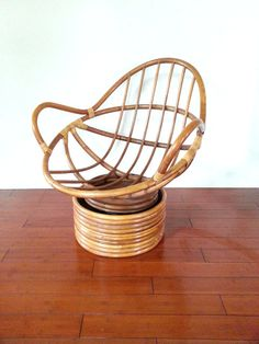 Mid Century Mod Rattan Bamboo POD CHAIR Rocking By HOUSEOFMINTAGE
