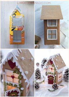 DIY - Caixa de leite reciclada para o Natal!