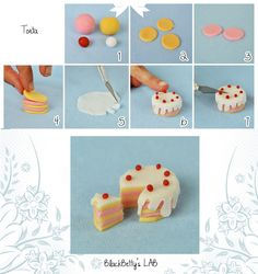 Fimo or Polymer Clay Cake Tutorial Polymer Clay Miniatures, Fimo Clay, Polymer Clay Charms, Fondant Toppers, Fondant Cakes, Cupcake Toppers, Miniature Crafts, Miniature Food, Decors Pate A Sucre