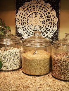 What a pretty way to store rice & beans