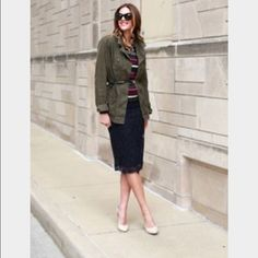 J crew Directors pencil skirt black lace Cotton and nylon lace skirt with poly lining. Pencil Skirt Outfits, Pencil Skirt Black, Utility Jacket Outfit, What I Wore, What To Wear, Best Leather Belt, J Crew Jacket, Layering Outfits, Only Fashion
