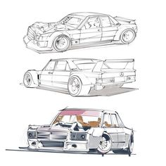 Sketching out a #mercedes #190e drift mobile.  Powered by a V8 of course.  #joyofmachine #maximumattack #モーターヘッド #art #design #stancenation #stanceworks #petrolicious #wkart by walterkim213