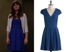 Jess Day (Zooey Deschanel) wears a blue pleated dress with a v-neck in New Girl season 3 episode 7 'Coach'