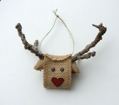 Reindeer made from Burlap Ribbon