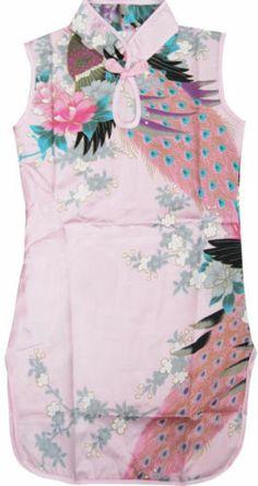 Girls Dress Pink Peacock Silk Cheongsam Chinese Children Clothing Size 12M-8 New