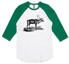 theIndie Grazing Deer (Black) 3/4-Sleeve Raglan Baseball T-Shirt