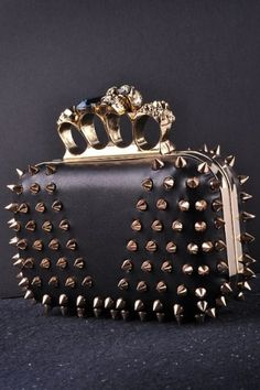 Jersey Bling® PUNK Studded w/Spikes Designer Celebrity Style BLING Clutch w/ Crystal Knuckle BLING Hard Case Clutch Evening bag w/Crystal Skull Embellished Knuckle Clasp closure Black with Silver Hardware