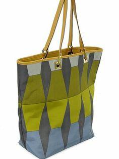Gucci Handbag - Geometric Print Nylon And Tan Leather Olive Green, Blue Tote Bag $333