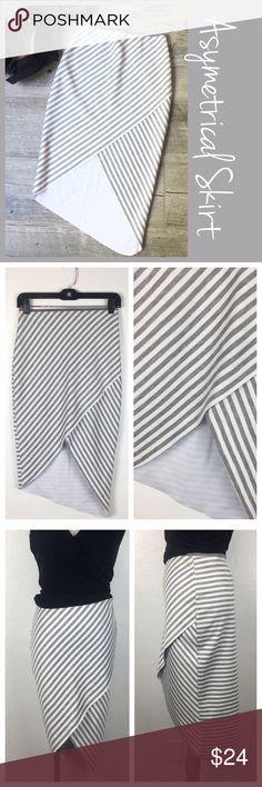 "Striped Asymmetrical Skirt Bev Bridge Asymmetrical  Striped Pencil Skirt. Size 4. NWOT. Back zipper.  Measurements  Waist 12"" length back 27 "" Front has envelope hem. Bundle and Save. Suggested User. No Trades. Fast Shipper Bev Bridge Skirts Asymmetrical"