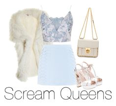 """Scream Queens Inspired"" by vampirliebling ❤ liked on Polyvore featuring Calypso St. Barth, Cutie, Topshop, Miu Miu, Chloé, emmaroberts, ArianaGrande, fandom, fauxfur and ScreamQueens"