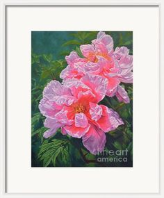 Peony Duet Framed Print By Fiona Craig - framing suggestion. See also www.fionacraig.com #art #artwork #ArtForSale #prints #printsforsale #flowers #decor