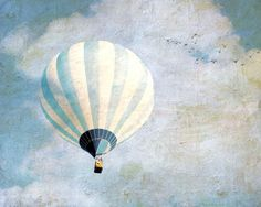 White and blue dreamy hot air balloon clouds pastel spring  surreal art for nursery - Above Us Only Sky 8 x 10 by gbrosseau on Etsy https://www.etsy.com/listing/107288574/white-and-blue-dreamy-hot-air-balloon