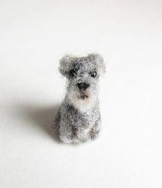 tiny needle felted Schnauzer by HandmadeByNovember on Etsy, $15.00