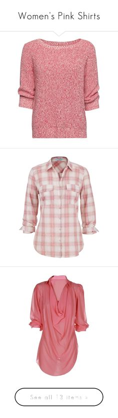 """""""Women's Pink Shirts"""" by eternalfeatherfilm on Polyvore featuring tops, sweaters, shirts, jumper, coral, ribbed shirt, red cotton shirt, shirt sweater, red sweater and cotton sweaters"""