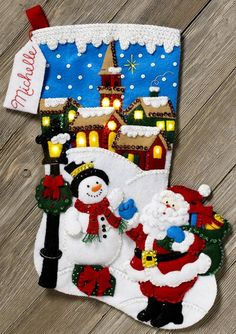 Bucilla 150th Anniversary Special Edition with Real LED Lights and Bonus Ornament ~ Christmas Village ~ 18 Felt Christmas Stocking Kit #86818 BRAND NEW ~ 2017 ~ PATTERN This is just one of several new Christmas Felt kits being released for Fall 2017. Please check my listings to see