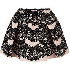 Red Valentino Velvet Printed Bubble Skirt ($705) ❤ liked on Polyvore featuring skirts, mini skirts, bottoms, saias, faldas, black full skirt, short skirts, bubble skirt, black bubble skirt and elastic waist skirt