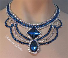 This necklace was created with Crystallized™ Swarovski Elements crystals. The necklace has a large pear and square shaped blue crystals in the front with blue and ab clear swirls creating this dramati Jewelry Model, Men's Jewelry, Beaded Jewelry, Jewelery, Jewelry Accessories, Handmade Jewelry, Beaded Necklace, Fashion Jewelry, Jewelry Design