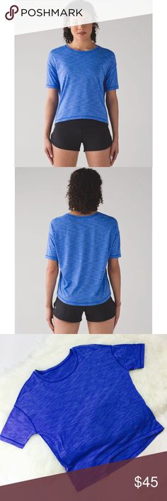 Lululemon Run It Out Heathered Cerulean Blue Tee In excellent used condition. No tags or Dot. Bust measures 20 inches. Length in the front is 19 inches. Length on the back is 20 inches. Very lightweight. Logo on the back. No flaws. First two pictures are not mine. lululemon athletica Tops Tees - Short Sleeve