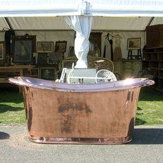 Roll-top copper bath at the Ardingley Antiques Fair
