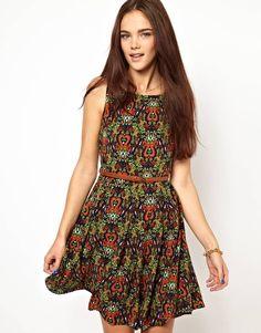 Print. Wear it loud and proud. Glamorous Belted Skater Dress In Folk Print