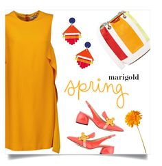 """""""marigold spring"""" by collagette ❤ liked on Polyvore featuring MSGM, Edie Parker, Anya Hindmarch, Toolally, marigold and toolally"""