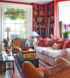 Family-Friendly English Country House - Traditional Home- Library Cool. Red Bookcase, Sweet Home, Muebles Living, Boho Home, Red Rooms, Home And Deco, Home Fashion, Traditional House, Country Decor