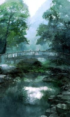 Back to the nature is what many people looking for, they regard this as the symbol of happiness. Fantasy Landscape, Landscape Art, Landscape Paintings, Fantasy Art, Watercolor Landscape, Watercolor Art, Arte Sailor Moon, Art Asiatique, Anime Scenery