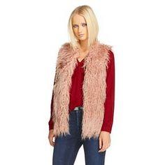 Women's Shaggy Faux Fur Vest - Mossimo