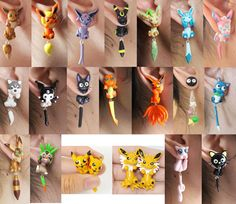 each of these earrings are handmade with polymer clay. These are fun to wear because the characters look like they are pierced through your earlobe