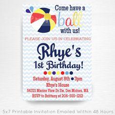 Navy Blue Red Yellow Beach Ball Birthday Party Printable Invitation YOU Print Beach Ball Birthday, Beach Ball Party, Ball Birthday Parties, Photo Invitations, Printable Invitations, Party Printables, Birthday Invitations, Kid Names, Beach Themes