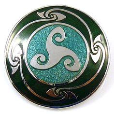 Round Celtic Triskele Brooch  Green Enamel  &  Silver