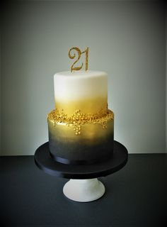 Black, gold and white sequins 21st birthday cake