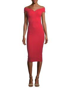 Gena Off-the-Shoulder Sheath Dress by Chiara Boni La Petite Robe at Bergdorf Goodman.