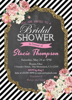 Chalkboard Bridal Shower Invitation. Black White Stripe Gold Glitter. Rustic burlap pink roses. Printable bridal shower invitation. BW11