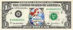 LITTLE MERMAID MOVIE on REAL Dollar Bill Cash Money Bank Note Currency Celebrity