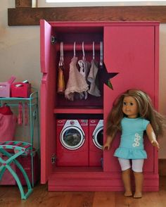 How to Make It - Star Closet for American Girl Doll! Instead of washer and dryer on the bottom though, maybe a shoes & accessories rack? :)