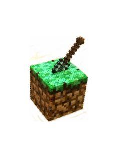 Minecraft Inspired Dirt Block Bank perler beads by BeadProShop