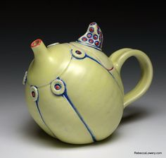 Yellow Button Teapot with Spotted Lid by Rebecca Lowery $100