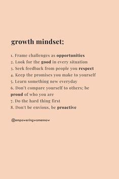 How-To Have A Growth Mindset - Empowering Women Now Positive Affirmations Quotes, Affirmation Quotes, Positive Quotes, Motivacional Quotes, Words Quotes, Life Quotes, Sayings, Self Love Quotes, Quotes To Live By