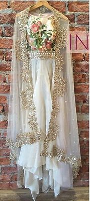 FatimaBi Plus size Fashion Indian Designer Anarkali Kameez White Partywear Dress