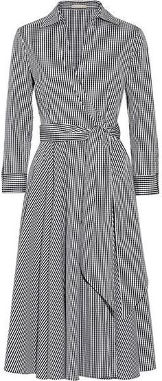 Michael Kors Collection - Gingham Stretch Cotton-blend Poplin Wrap Dress - Black