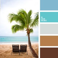 The color palette №2297 --  Amazing palette of natural shades. Quiet, natural inks create an atmosphere of relaxation and recreation. Light azure, sky blue is the best combined with brown gamut. These colors look great in the interior of houses, private homes and country. In the summer wardrobe of a suitable range of colors for relaxation and beach - bathing suits, towels, beach chairs, capes.